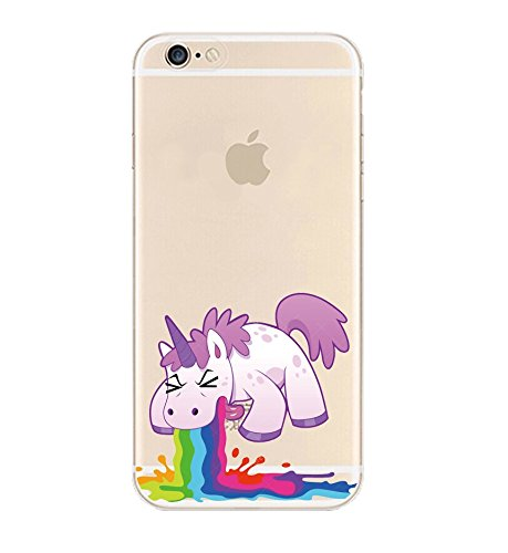 iPhone 6 Case, DECO FAIRY® Protective Case Bumper[Scratch-Resistant] [Perfect Fit] Translucent Silicone Clear Case Gel Cover for Apple iPhone 6 (Rainbow Unicorn iPhone 6 4.7