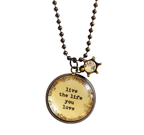 Live the Life You Love Inspirational Quote Pendant Necklace