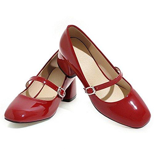 red Doux Mary Ferme Chaussures Janes Enfiler A Escarpins Femme Carre COOLCEPT Bas Bloc Bout Ofw4q5T5