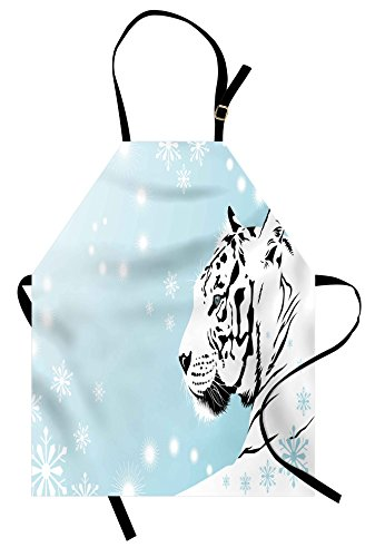 Ambesonne Tiger Apron, White Bengal Beast Lies Against Snowy Background Beautiful Eyes Majestic Nature, Unisex Kitchen Bib Apron with Adjustable Neck for Cooking Baking Gardening, Turquoise -