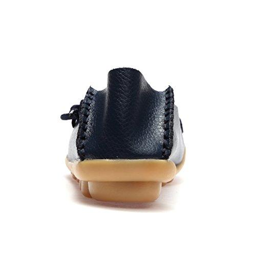 Mocassini In Pelle Da Donna Wqinshoe Slip On Mocassini Scarpette Casual Da Guida Con Sottopiede In Memory Foam Blue-shoelace