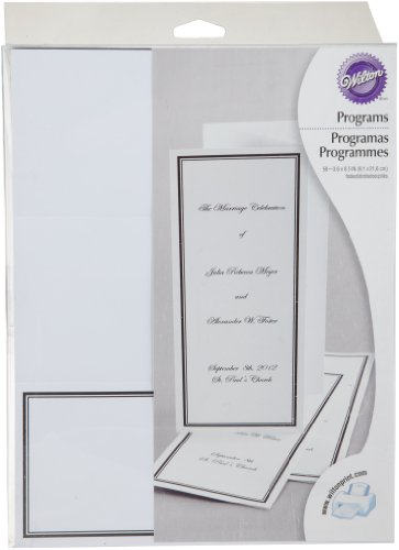 Wilton 1008-1514 50-Pack Keep with Tradition Wedding Program, White/Black (Black And White Wedding Programs compare prices)