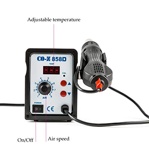 CO-Z 858D Rework Station, 110V SMD Soldering Rework Station with Hot Air Heat Gun Set, LED Digital Temperature Display Screen Electric Desoldering Welding Iron Kit for Electronics Repairing