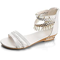 GBSELL Woman Lady Summer Boho Beaded Pearl Wedges Sandals Shoes (White, 7.5)