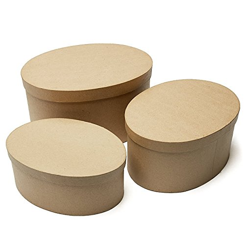 Factory Direct Craft Handcrafted Paper Mache Large Oval Boxes - 3 Boxes