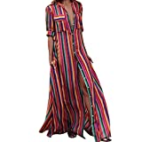 CSSD Women Half Sleeve Striped Multicolor Loose Button Beach Long Robe Dress (Multicolor, S)