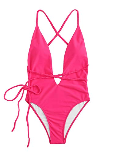 SOLY HUX Women Sexy One Piece Swimsuit Deep Plunge Belted Low Back Padded Swimwear Bright Pink S ()