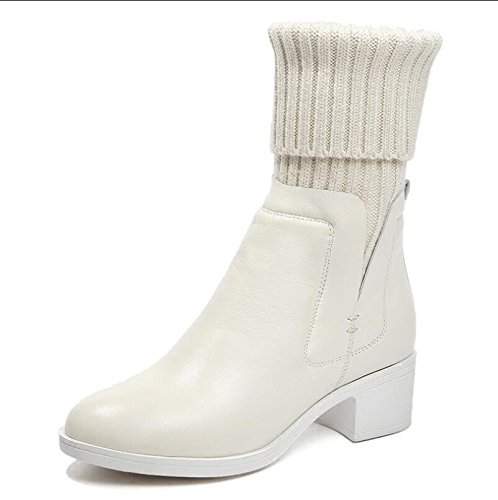 Chaussures automne Fille Coton Simili Laine La Des Avec Bottes Rugueuse 37 Le Plus Nouvelle Khskx Velours Hiver De Canon Cuir Blanche Et xBaffS