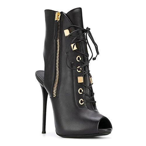 Peep Aiguille Hauts Noir Bottes Soirée Femmes Chaussures Talon pour Forme NVXIE Noces Noir Fête Cheville Strappy Sandales Plate Talons Toe Cuir Zipper PgSwnp