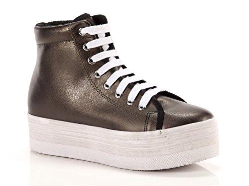 Jeffrey Campbell Donna, Homg Lea, Pelle, Sneakers Alte, Marrone