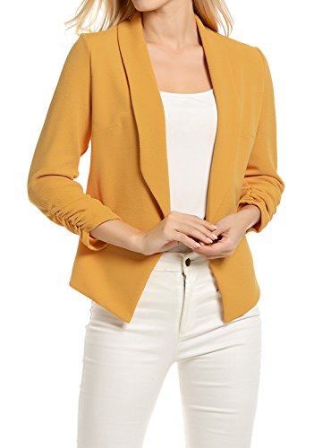 Casual Blazer for Women Lightweight Drape Blazer Light Petite Cardigans for Summer (XL, Mustard)
