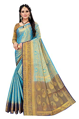 PRANAVI CREATION Women's Bollywood Cotton Silk Saree