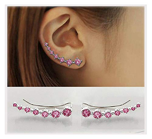 7 Crystals Ear Cuffs Hoop Climber S925 Sterling Silver Earrings Hypoallergenic Earring - Silver Pink Crystal Sterling