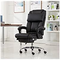 Reclining Leather Ergonomic High Back Executive Office Chair Footrest Armchair (USA Stock)