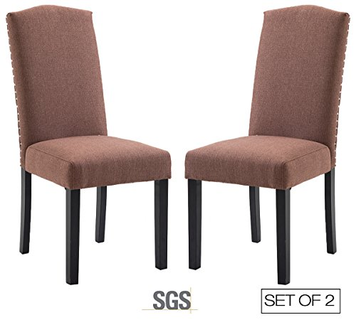 ZXBSWELE Urban Style Linen Fabric Dining Room Chair with Solid Wood Legs Set of 2, Brown - Leather Oak Folding Chair