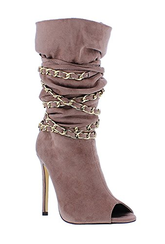 Liliana Peep Toe Bottillons Slouchy W / Chaines Chaines Undercover Mauve