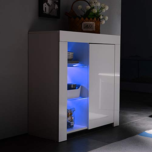 Mecor Kitchen Buffet Cabinet,High Gloss LED Sideboard,Storage Server Table with 3 Shelves White (Modern High Gloss)