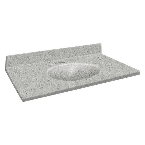 - Samson ITB3122-63-1 Solid Surface 31x22 Chelsea Vanity Top with Integral Bowl and 1-Hole Eased Edge, Matrix Dusk
