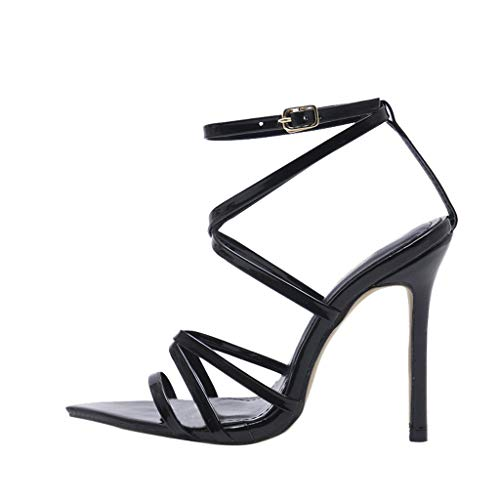 Womens Sandals for Women Huizhuangshigong Women Fashion Solid Pointed Toe High Heel Thin Heels Sandals Party Wedding Shoes(35, Black)
