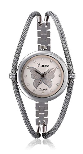 Xeno ZD000292 Diamond Studded Butterfly Analog Off-White Dial Women's Watch