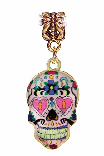 Burts Beads – Day of the Dead Sugar Skull Mexico Pink Gold Dangle Bead for Euro Charm Bracelet YRS0759