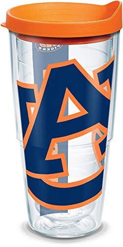 Tervis 1093381 Auburn Tigers Colossal Tumbler with Wrap and Orange Lid 24oz, Clear