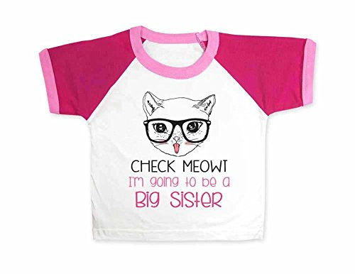 cuteandfunnykids Check Meowt I'm Going to be a Big Sister - Raglan Color Block Girls T-Shirt for Baby Birth Pregnancy Announcement (Raglan 3 Toddler, Pink Raglan)