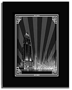 Address Hotel Down Town- Black And White With Silver Border No Text F04-nm (a4) - Framed