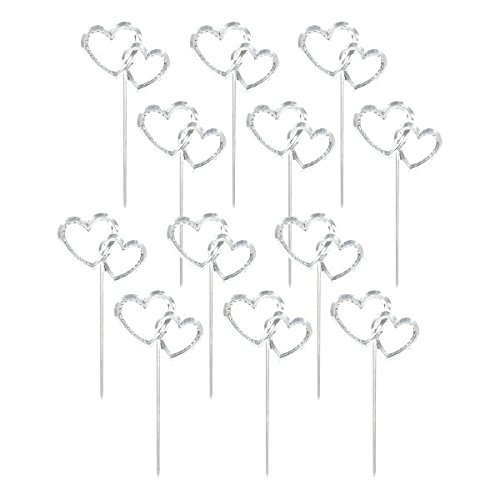 Interlocking Silver Hearts Plastic Picks | Wedding and Engagement Party