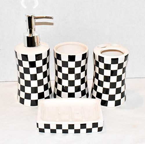 4pc Bathroom Accessory Set Black & White Checkered Design Soap Dispenser, Soap Dish, Toothbrush Holder, Drinking -