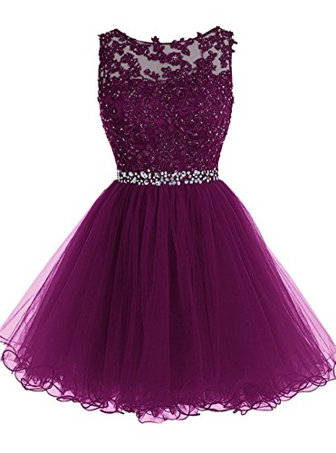 - WDING Short Tulle Homecoming Dresses Appliques Beads Prom Party Gown Purple,US2