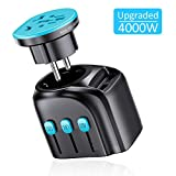 APZEK Universal Travel Adapter, Upgraded 4000W High Power International Power Adapter with Auto Resetting Fuse, Dual USB Wall Charger, Travel Plug Adapter for Hair Dryer, EU UK AUS US 200+ Countries