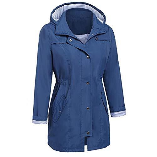 Cappotto Outwear Antivento Cappuccio Scuro Moda ❤ Donna Autunno Felpa Vicgrey Impermeabile Inverno Giacca Parka Donna Blu Con Ba7qz