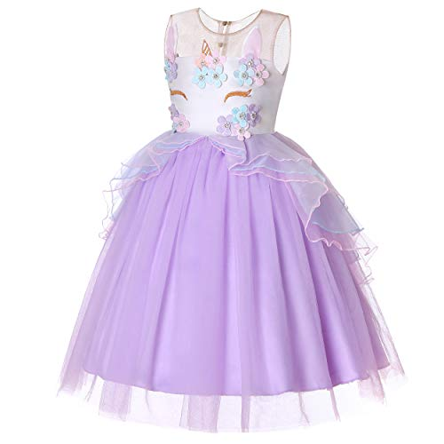 Molliya Unicorn Costume Dress Girl Princess Pageant Party Dresses Flower Evening Gowns Tutu Fancy Dress(Light Purple, 7T-8T) -