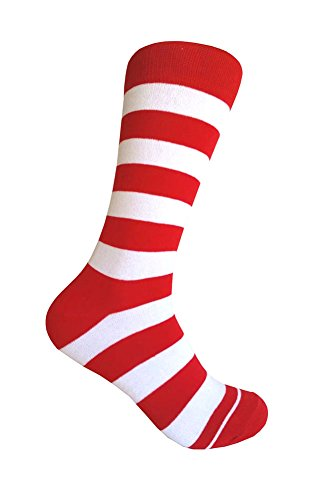 Halloween Waldo Costume Ronald Mcdonald Costume Stripe Dress socks,Red/White -