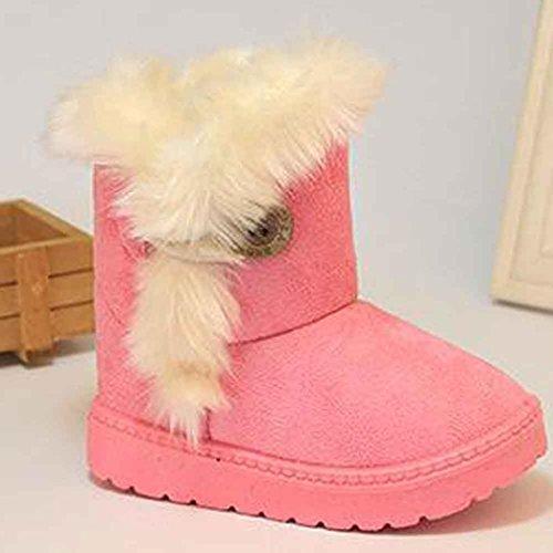 Tefamore zapatos niña de antideslizante de sole suave de moda invierno de calentar para chicas Rosa