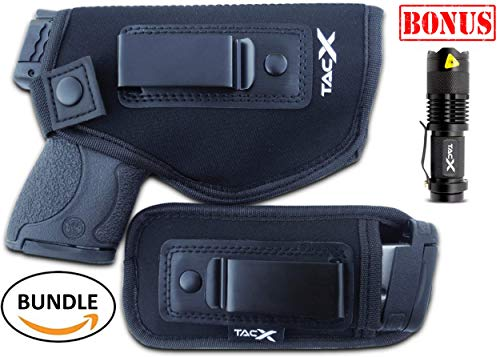 Universal IWB Holster For Concealed Carry | BONUS Mag Holster | EDC Inside The Waistband | Flexible, Breathable, Neoprene | S&W M&P Shield 9/40 1911 XDS Taurus PT111 G2 Glock 19 17 22 26 27 43 (Left)