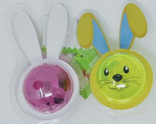 Easter Bunny Bouncing Balls - Happy Go Fluffy Flashing Bouncing Bunny Ball APX 3 inch Diameter Set of 2