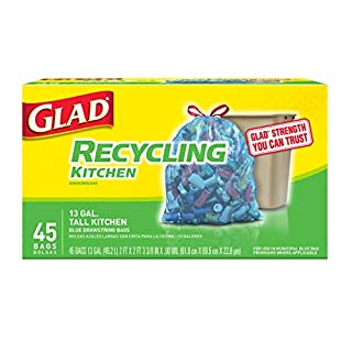 Glad Tall Kitchen Drawstring Recycling Bags - 13 Gallon Blue Trash Bag - 45 Count Each