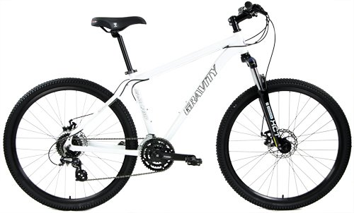 """Gravity Basecamp 27.5 Disc Brake Shimano 24 Speed Front Suspension Mountain Bike (White, 19"""" - fits Most 6"""