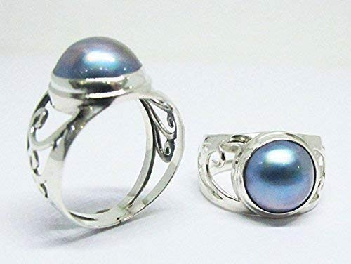 - mabe pearl ring, 925 sterling silver ring with peacock 10 mm mabe pearl, pearl ring, blue mabe pearl ring, bali silver ring with mabe,