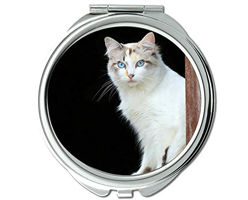 Mirror,Travel Mirror,Blue Eyes Pet Cat mirror for Men/Women,1 X 2X Magnifying