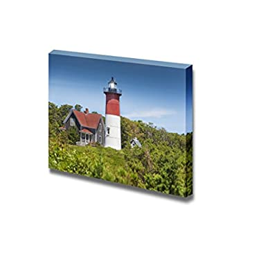 Canvas Prints Wall Art - Truro Lighthouse/Highland Light on Cape Cod, MA USA | Modern Wall Decor/Home Decoration Stretched Gallery Canvas Wrap Giclee Print & Ready to Hang - 12