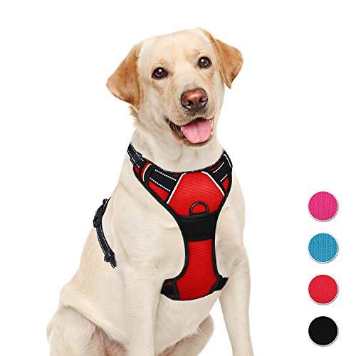 (BARKBAY No Pull Dog Harness Large Step in Reflective Dog Harness with Front Clip and Easy Control Handle for Walking Training Running)