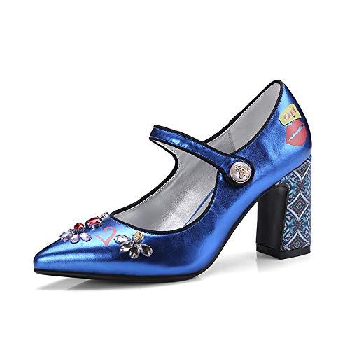 Puntiagudo Pie Fiesta Más Tobillo Hoesczs Tamaño Altos Mary Tacones 43 Mujer Nuevo Blue Correa 34 Bombas Dedo Janes Del Boda Zapatos 88wqT05
