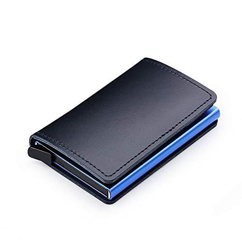 Treinta y siete días creativo elástico automático tipo tarjeta de piel metal aluminio Shell RFID Bank Card Pack Wallet...