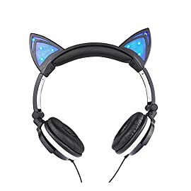 Cat Ear Headphones with LED Glowing Lights for PC Computer and Mobile Phone