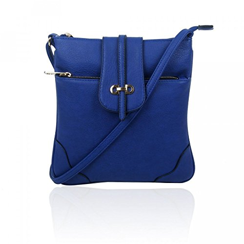 LeahWard® Damen Kunstleder Umhängetasche mit Reißverschluss Abteil Damen Klein Größe Essener Mode Qualität Handtaschen 150961 150964-Indigo