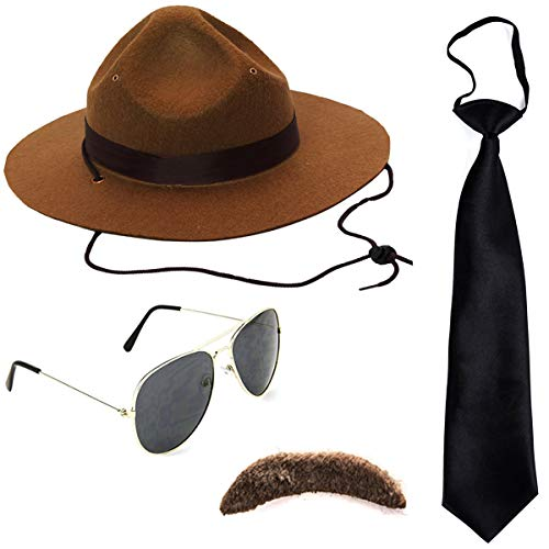 (Tigerdoe State Trooper Costume - 4 Pc Set - Canadian Mountie Costume - Park Ranger Costume - Highway Patrol Costume)