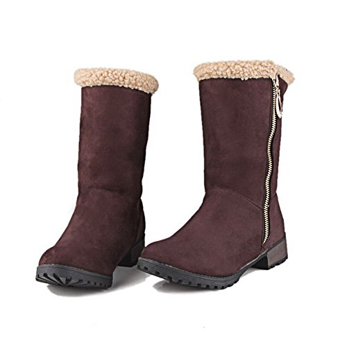 Low Frosted Round Heels Closed Zipper Low Boots Women's AgooLar Brown Toe Top 8BSAqxHw